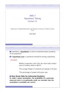 AMS 7 Hypothesis Testing Lecture 11