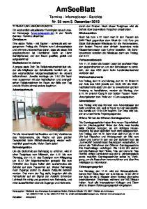AmSeeBlatt. Termine - Informationen - Berichte Nr. 35 vom 3. Dezember 2013