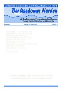 Amtliches Bekanntmachungsblatt des Amtes Usedom-Nord
