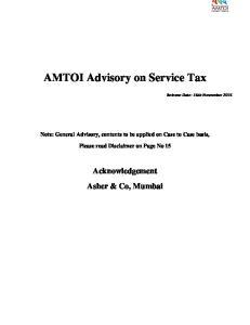 AMTOI Advisory on Service Tax
