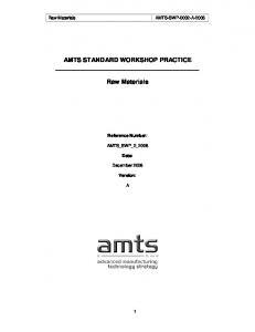 AMTS STANDARD WORKSHOP PRACTICE. Raw Materials