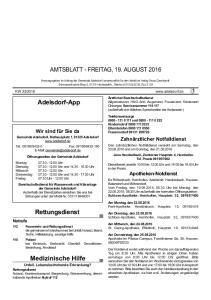 AMTSBLATT - FREITAG, 19. AUGUST 2016
