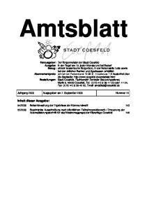 Amtsblatt. Jahrgang 2009 Ausgegeben am 7. September 2009 Nummer 15
