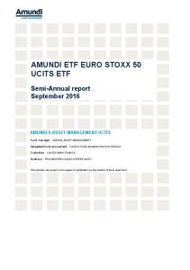 AMUNDI ETF EURO STOXX 50 UCITS ETF