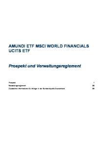 AMUNDI ETF MSCI WORLD FINANCIALS UCITS ETF. Prospekt und Verwaltungsreglement