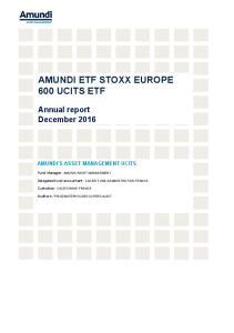 AMUNDI ETF STOXX EUROPE 600 UCITS ETF