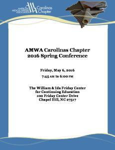 AMWA Carolinas Chapter 2016 Spring Conference