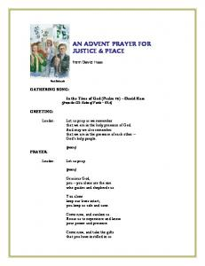 AN ADVENT PRAYER FOR JUSTICE & PEACE