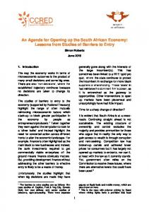 An Agenda for Opening up the South African Economy: Lessons from Studies of Barriers to Entry