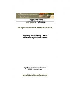 An Agricultural Law Research Article. Applying Antidumping Law to Perishable Agricultural Goods