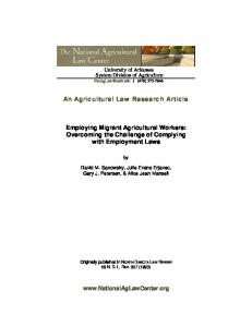 An Agricultural Law Research Article. Employing Migrant Agricultural Workers: Overcoming the Challenge of Complying with Employment Laws