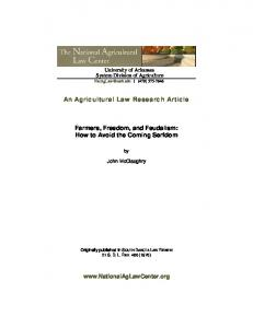 An Agricultural Law Research Article. Farmers, Freedom, and Feudalism: How to Avoid the Coming Serfdom