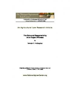 An Agricultural Law Research Article. The Role and Responsibility of an Expert Witness