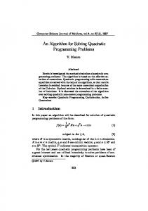 An Algorithm for Solving Quadratic Programming Problems