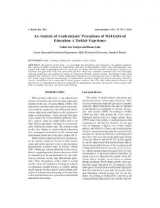 An Analysis of Academicians Perceptions of Multicultural Education: A Turkish Experience