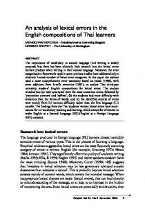 An analysis of lexical errors in the English compositions of Thai learners