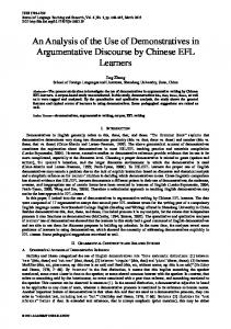 An Analysis of the Use of Demonstratives in Argumentative Discourse by Chinese EFL Learners