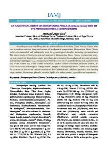 AN ANALYTICAL STUDY OF SHATAPUSHPA PHALA (Anethum ITS PHYSICOCHEMICAL COMPOSITIONS