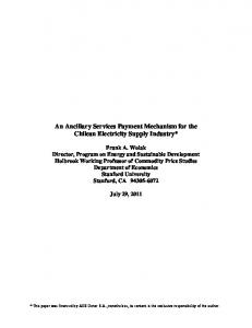 An Ancillary Services Payment Mechanism for the Chilean Electricity Supply Industry*
