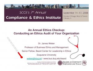 An Annual Ethics Checkup: Conducting an Ethics Audit of Your Organization