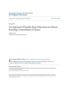 An Appraisal of Quality Basic Education in Ashanti Farming Communities of Ghana