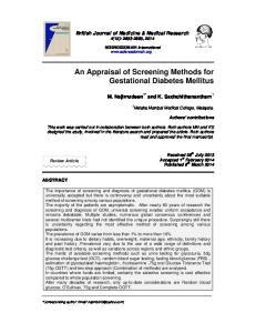 An Appraisal of Screening Methods for Gestational Diabetes Mellitus