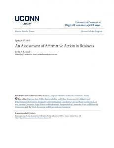 An Assessment of Affirmative Action in Business