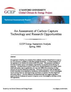 An Assessment of Carbon Capture Technology and Research Opportunities