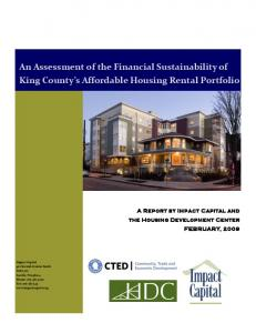 An Assessment of the Financial Sustainability of King County s Affordable Housing Rental Portfolio