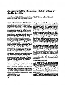 An assessment of the interexaminer reliability of tests for shoulder instability
