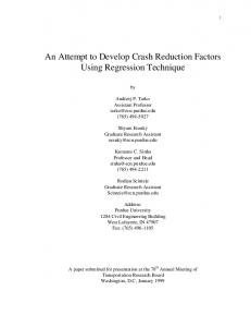 An Attempt to Develop Crash Reduction Factors Using Regression Technique