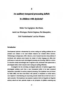 An auditory temporal processing deficit. in children with dyslexia?