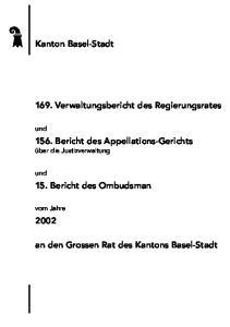an den Grossen Rat des Kantons Basel-Stadt