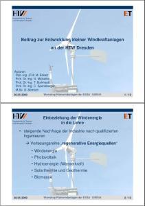 an der HTW Dresden Einbeziehung der Windenergie in die Lehre