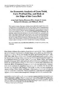 An Economic Analysis of Corn Yield, Corn Profitability, and Risk at the Edge of the Corn Belt