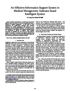 An Effective Information Support System in Medical Management: Indicator based Intelligent System