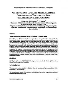 AN EFFICIENT LOSSLESS MEDICAL IMAGE COMPRESSION TECHNIQUE FOR TELEMEDICINE APPLICATIONS
