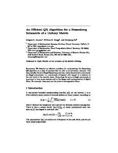 An Efficient QR Algorithm for a Hessenberg Submatrix of a Unitary Matrix