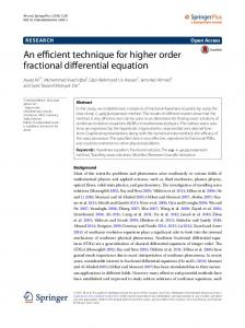 An efficient technique for higher order fractional differential equation