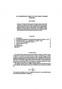 AN ELEMENTERY PROOF OF THE PRIME NUMBER THEOREM