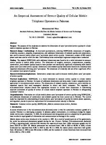 An Empirical Assessment of Service Quality of Cellular Mobile Telephone Operators in Pakistan