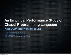 An Empirical Performance Study of Chapel Programming Language