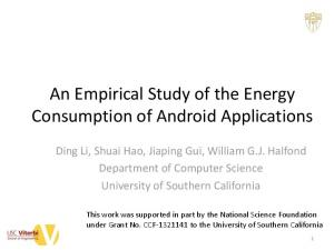 An Empirical Study of the Energy Consumption of Android Applications