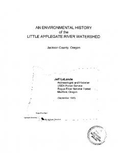 AN ENVIRONMENTAL HISTORY of the LITTLE APPLEGATE RIVER WATERSHED