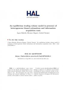 An equilibrium trading volume model in presence of heterogeneous biased estimations and information acquisition costs