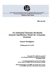 An Estimated Dynamic Stochastic General Equilibrium Model for Armenian Economy