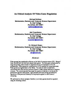 An Ethical Analysis Of Video Game Regulation