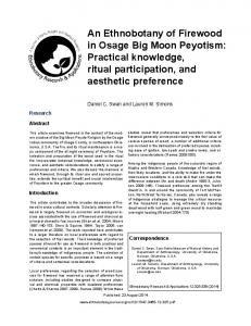 An Ethnobotany of Firewood in Osage Big Moon Peyotism: Practical knowledge, ritual participation, and aesthetic preference