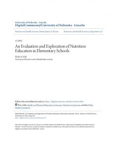 An Evaluation and Exploration of Nutrition Education in Elementary Schools