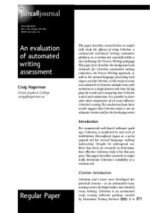 An evaluation of automated writing assessment